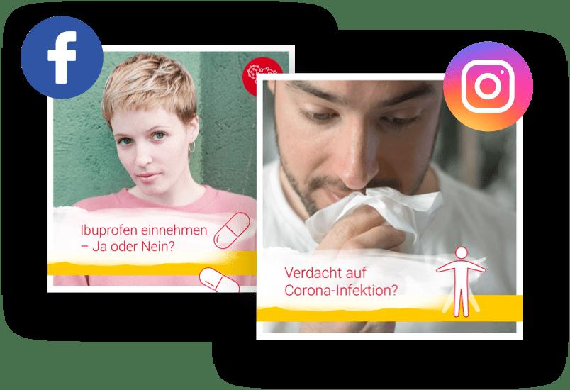 Beispiel Posts Facebook und Instagram